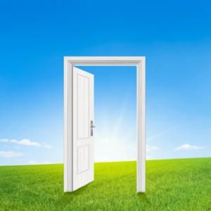 Tür auf Wiese